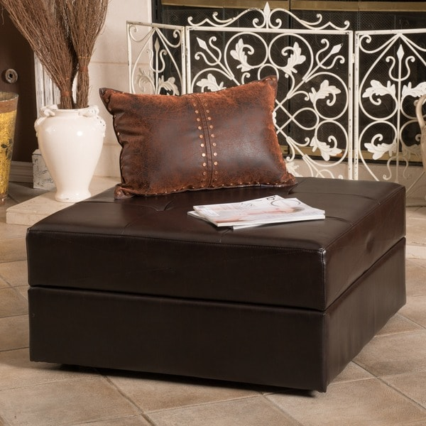 Burlington Brown Bonded Leather Storage Ottoman by Christopher Knight Home