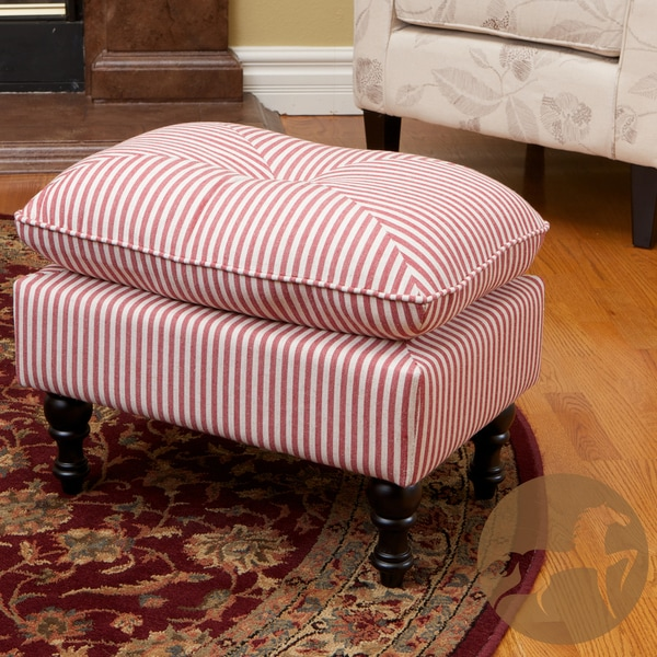 Marilyn Tufted Red Stripe Fabric Ottoman by Christopher Knight Home