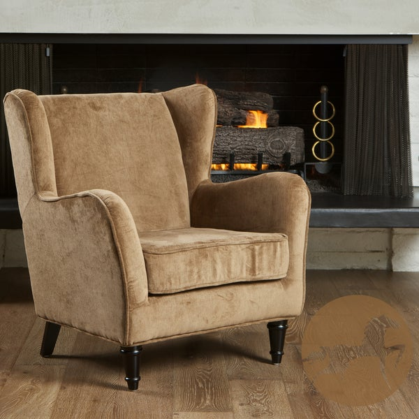 Flores Carmel Brown Jacquard Club Chair by Christopher Knight Home