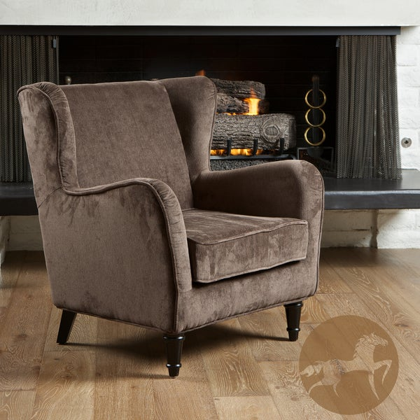 Flores Dark Brown Jacquard Club Chair by Christopher Knight Home