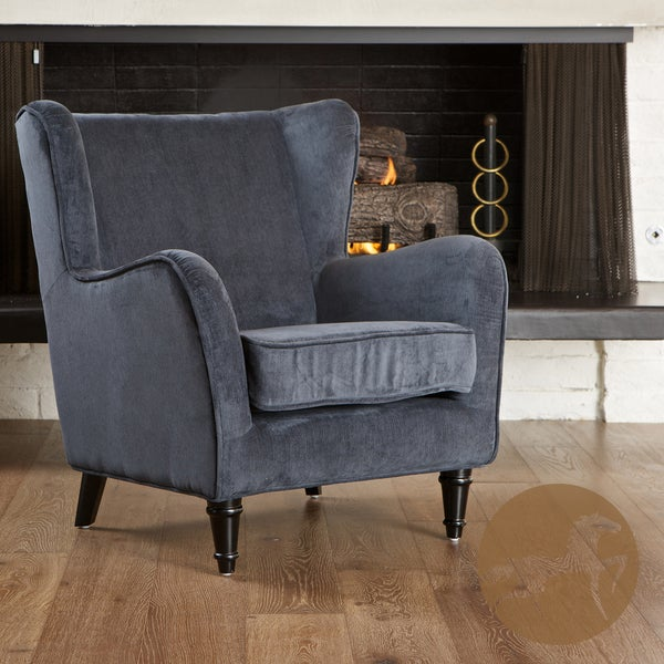 Flores Dark Blue Jacquard Club Chair by Christopher Knight Home