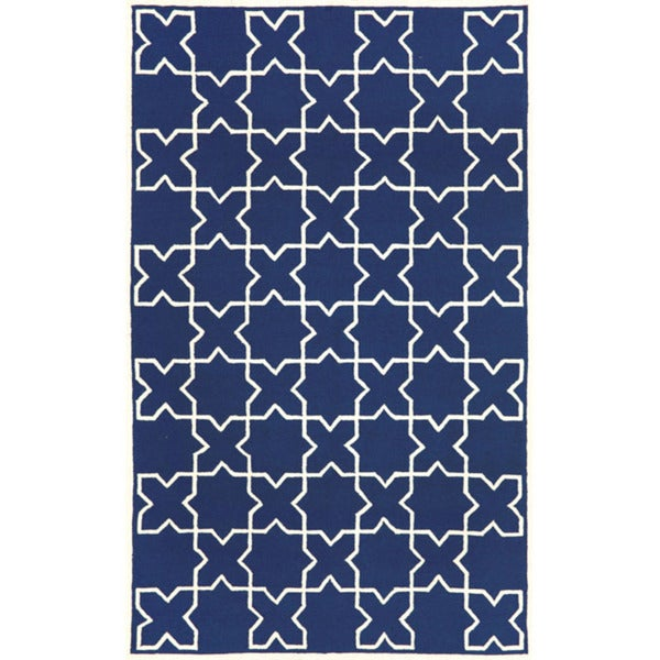 Hand-tufted Blue Tiles Rug (3'6 x 5'6)
