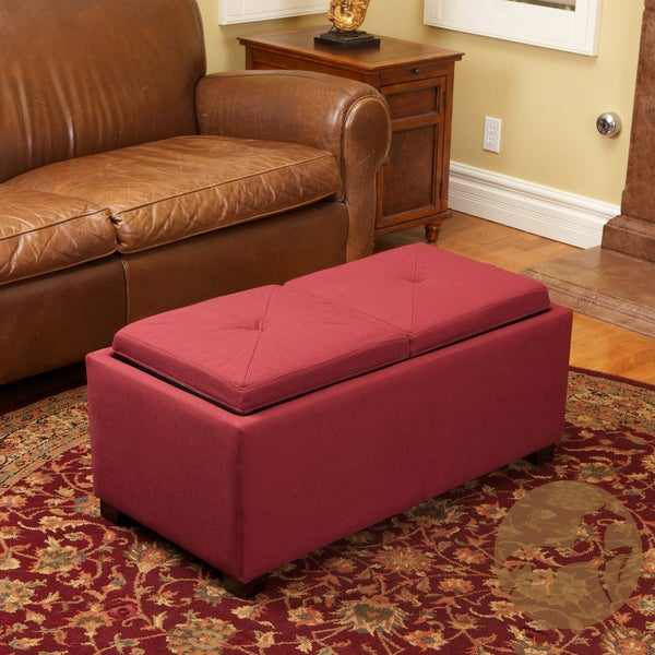 Maxwell Red Fabric Tray Ottoman by Christopher Knight Home