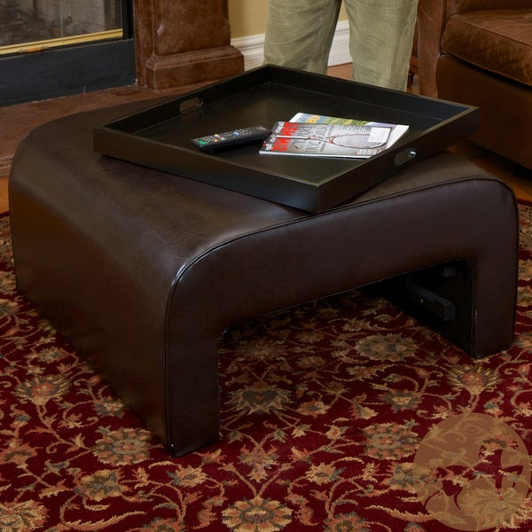 Zachary Brown Leather Tray Ottoman by Christopher Knight Home