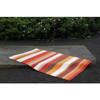 Hand-hooked Orange Stripe Rug (3'6 x 5'6)