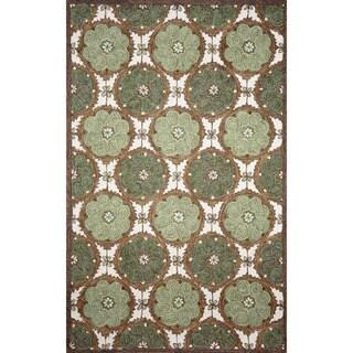 Hand-hooked Green Embellish Circles Rug (3'6 x 5'6)