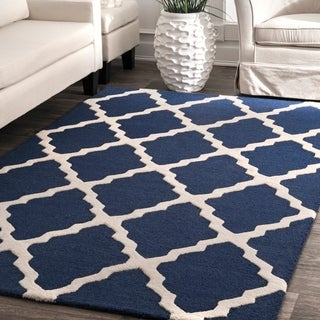nuLOOM Handmade Alexa Moroccan Trellis Wool Area Rug (6' Round)