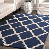 nuLoom Alexa Wool Moroccan Trellis Handmade Area Rug (6' Round)