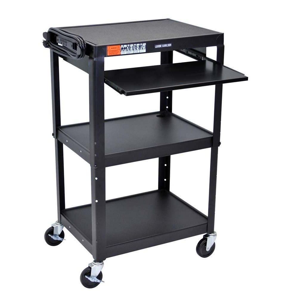 Offex Adjustable Height Steel A/V Cart with Pullout Tray ...