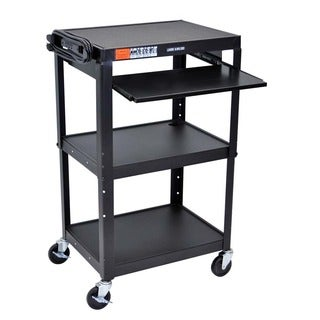 Offex 3 Shelves Adjustable Height Multipurpose Black Steel A/V Utility Cart with Pullout Tray