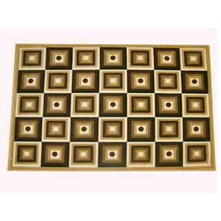 Generations Champagne Abstract Squares Rug (7'9 x 10'5)