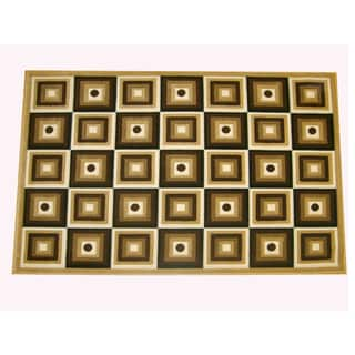 Generations Champagne Abstract Squares Rug (3'9 x 5'1)