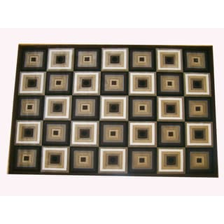 Generations Chocolate Abstract Squares Rug (3'9 x 5'1)