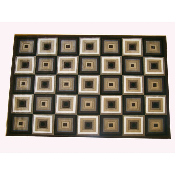 Generations Chocolate Abstract Squares Rug (7'9 x 10'5)