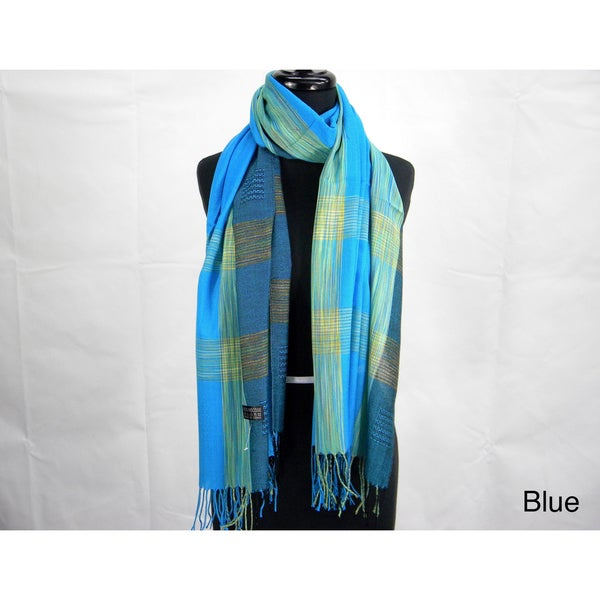 Madras Plaid Fringed Fashion Scarf