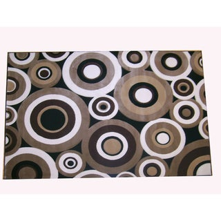 Generations Black Abstract Circles Rug (3'9 x 5'1)