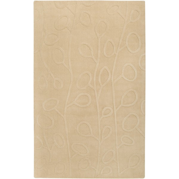 Hand-crafted Beige Floral Axxess Wool Rug (2' x 3')