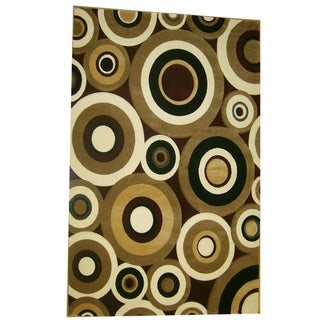 Generations Burgundy Abstract Circles Rug (5'2 x 7'2)