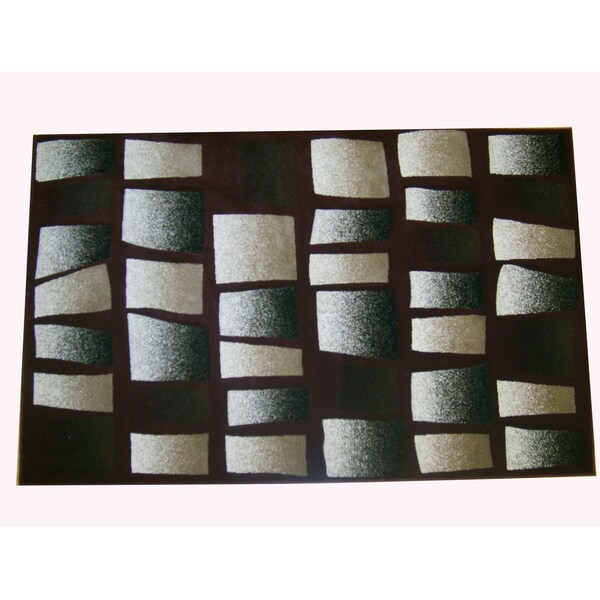 Generations Burgundy Abstract Tranche Rug (5'2 x 7'2)