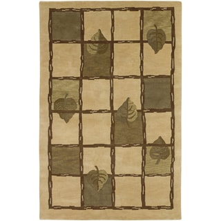 Hand-knotted Aspire Khaki Geometric Wool Rug (2' x 3')