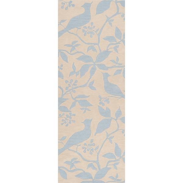 Angelo Surmelis Hand-tufted Sky Blue Rug (2'6 x 8')