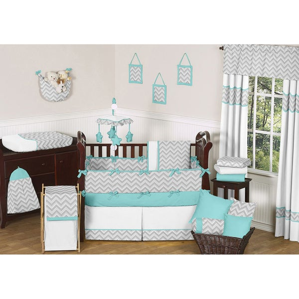 Sweet JoJo Designs Grey And Turquoise Zig Zag 9 Piece Crib Bedding Set