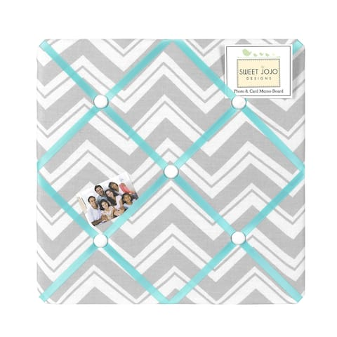 Sweet JoJo Designs Turquoise and Grey Zig Zag Bulletin Board