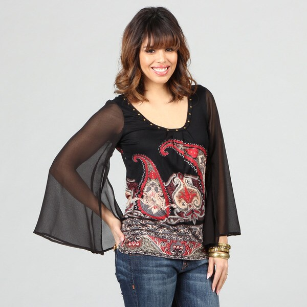 Lola P Women's Paisley Print Georgette Sleeve Knit Top