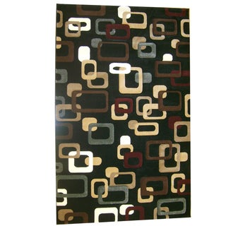Generations Black Abstract Circuit Rug (5'2 x 7'2)