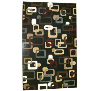 Generations Black Abstract Curuit Rug (7'9 x 10'5)