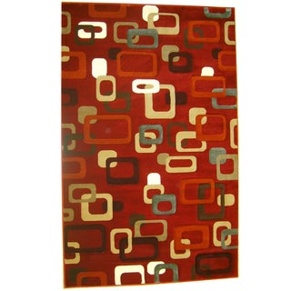 Generations Red Abstract Circuit Rug (3'9 x 5'1)