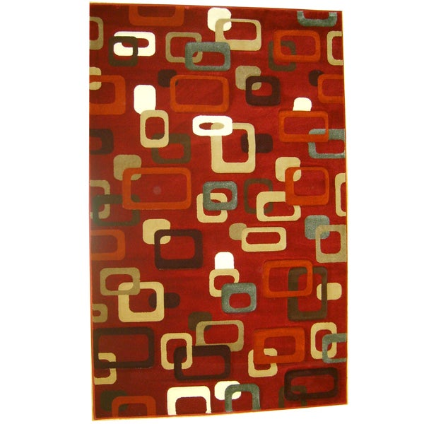 Generations Red Abstract Circuit Rug - 5'2 x 7'2