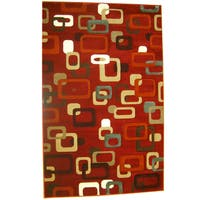 Generations Red Abstract Curuit Rug - 7'9 x 10'5