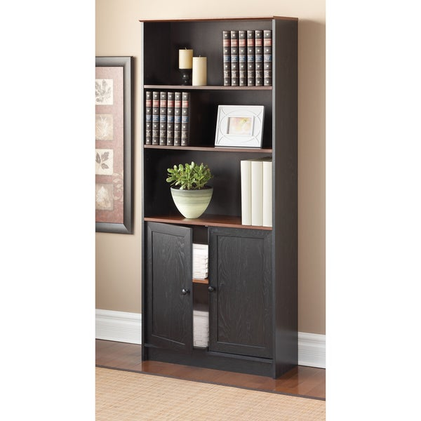 Talon 5-shelf Black Oak Bookcase
