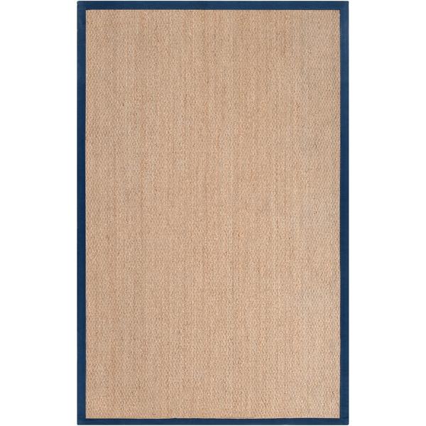 Hand-woven Bergamo Natural Natural Fiber Seagrass Cotton Border Rug (5' x 8')