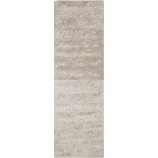 Hand-tufted Stella Smith Misty Grey Novelty Wool Rug (2'6 x 8')