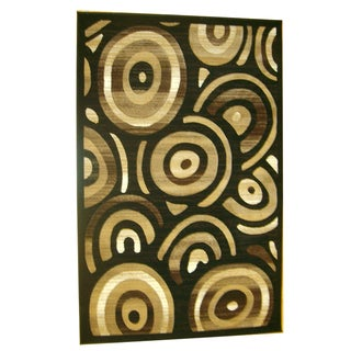 Generations Black Abstract Stellar Rug (5'2 x 7'2)