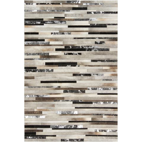 Hand-crafted White/Black Leather Animal Hide Ancona Area Rug - 2' x 3'