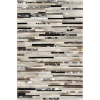 Hand-crafted White/Black Leather Animal Hide Ancona Area Rug (2' x 3')