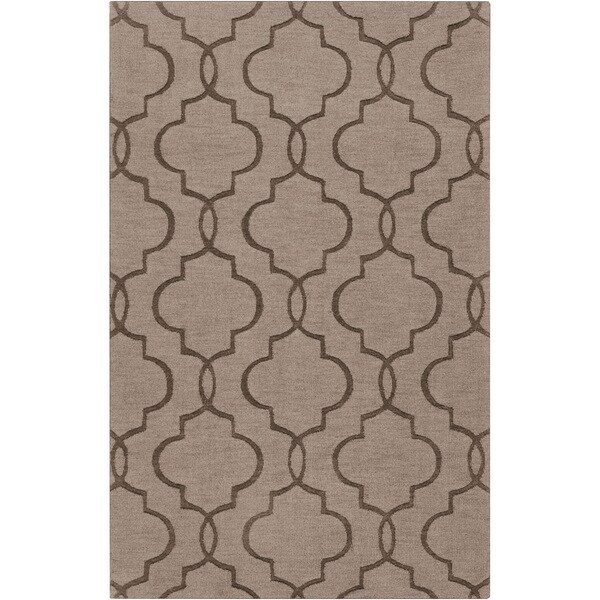 Hand-crafted Udine Brown Geometric Lattice Wool Rug (3'3 x 5'3)