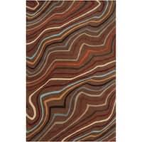 Hand-tufted Topsham Dark Brown Geometric Wool Area Rug - 12' x 15'