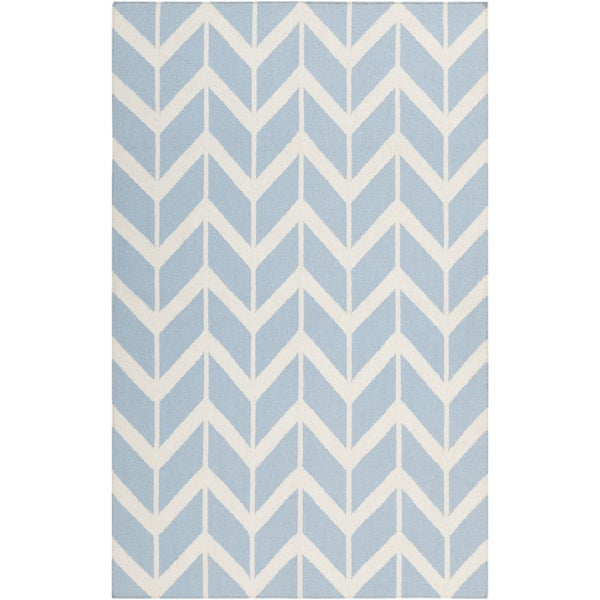 Jill Rosenwald Hand-woven Tamaki Light Blue Wool Rug (8' x 11')