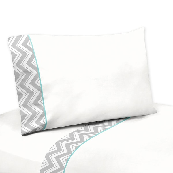 Sweet JoJo Designs 200 Thread Count Grey and White Zig Zag Diamond Sheet Set