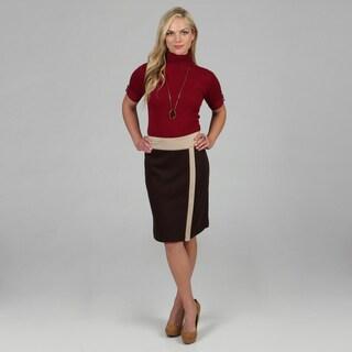 Amelia Women's Espresso Color Combo Ponte Skirt
