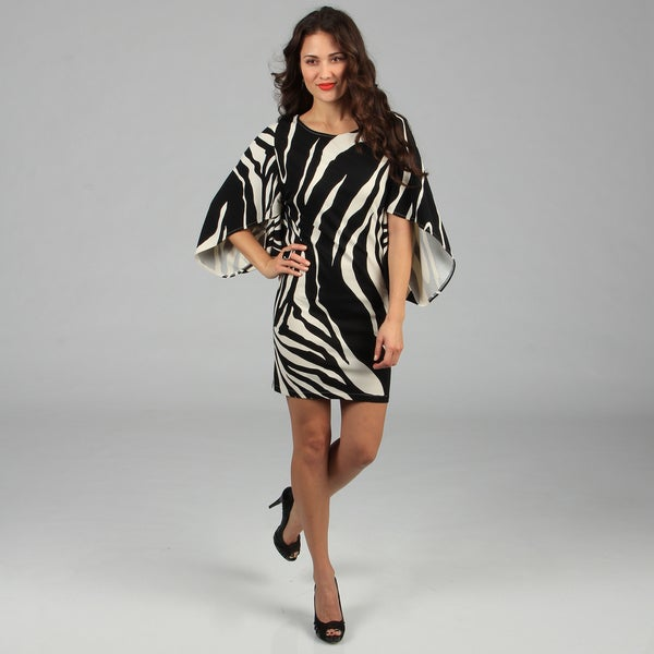 Kozy Zebra Print Black/ Cream Knit Dress