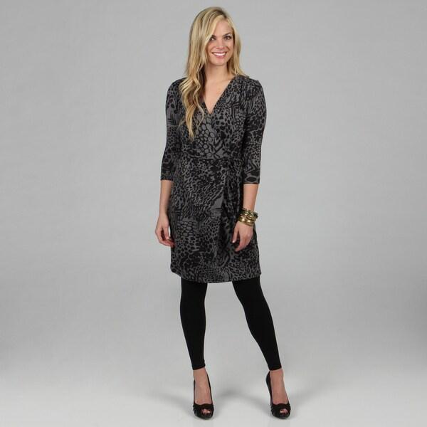 Kozy Women's Grey Tiger Print Long Sleeve Wrap Dress