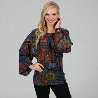 Kozy Women's Blue Abstract Print Kimono Sleeve Top