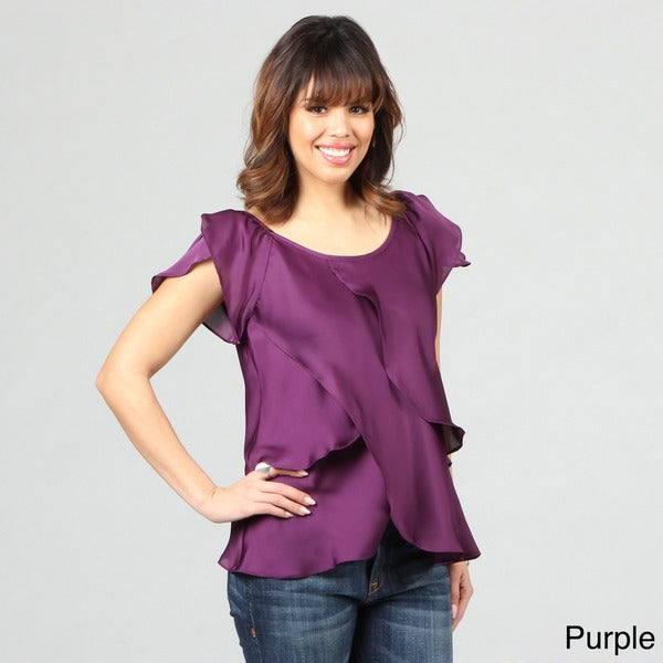 Violet & Claire Women's Tiered Flutter Top