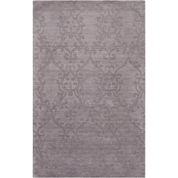 Hand-crafted Solid Casual Papatoetoe Purple Wool Rug (2' x 3')