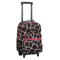 Rockland Pink Giraffe 17-inch Rolling Carry-on Upright Backpack